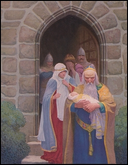 'So the child was delivered unto Merlin...' by N.C. WyethH5, 1917